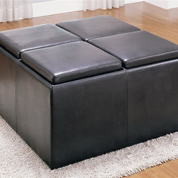 Homelegance - Claire Storage Cocktail Ottoman - Four-seat storage ottoman. Reverses to reveal four individual serving trays. Four stored stools. Dark brown bi-cast vinyl upholstery. Can be used as table. 38 in. W x 38 in. D x 20 in. H