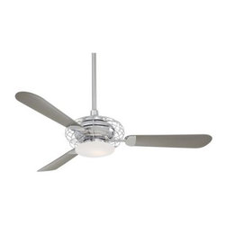 Minka Aire - Minka Aire Acero Ceiling Fan in Polished Nickel - Minka Aire Acero Model MF-F601-PN in Polished Nickel with Silver Colored Finished Blades. Included Single 100W Halogen Light Fixture with Opal Frosted Glass for the Acero. .