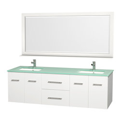 Wyndham Collection - Centra Bathroom Vanity in White, Green Glass Top, Sq Porcelain UM Sinks - Simplicity and elegance combine in the perfect lines of the Centra vanity by the Wyndham Collection. If cutting-edge contemporary design is your style then the Centra vanity is for you - modern, chic and built to last a lifetime. Available with green glass, pure white man-made stone, ivory marble or white carrera marble counters, and featuring soft close door hinges and drawer glides, you'll never hear a noisy door again! The Centra comes with porcelain sinks and matching mirrors. Meticulously finished with brushed chrome hardware, the attention to detail on this beautiful vanity is second to none.