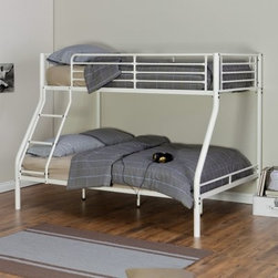 Duro Hanley Twin Over Full Bunk Bed - White - The Duro Hanley Twin Over Full Bunk Bed – White is the perfect solution for bunking siblings of different ages together. The top bed supports a twin-sized mattress while the lower bed is perfectly fitted for a full-sized mattress. The sturdy frame is constructed from solid metal and has an open modern look to its geometric design. Each bed can easily support up to 320 lbs. Slatted safety rails are built into the design for the top bunk to ensure your child remains safe even while asleep while the ladder built into the frame offers effortless access to the top bunk. A smart white finish accentuates this piece's uncluttered look making this an appropriate addition to any room. We take your family's safety seriously. That's why all of our bunk beds come with a bunkie board slat pack or metal grid support system. These provide complete mattress support and secure the mattress within the bunk bed frame. Please note: Bunk beds and loft beds are only to be used by children 6 years of age or older.
