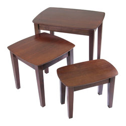 """Winsome Wood - Winsome Wood 3-pc Nesting Table with Antique Walnut Finish X-72349 - Space-saving design, this nesting table set has simple lines and traditional good looks.  Each table has a rounded rectangular top and 4 tapered legs. Beautiful walnut finish.  Large = 26.8 x 18.7 x 21.9, Medium = 18.7 x 18.7 x 17.9""""H, Small = 11.4 x 18.7 x 14""""H"""