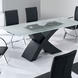 Contemporary Graceful Rectangular Clear Glass Top Leather Dinner Furniture Set - Jetta ultra modern dining room set x-shape wooden base. All the pieces are made of high quality materials and are to serve you for years to come. This extremely modern 'Jetta' set will bring you contemporary charm and beauty for your home decor.