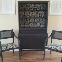 Black Painted Furniture - ~SOLD~ Vintage Basset Hutch painted in Annie Sloan Chalk Paint