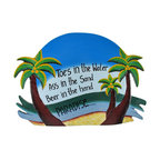 Blue `Toes in the Water` Palm Tree Paradise Wall Plaque - This tropical paradise wall plaque is a wonderful addition to any beach themed room or bar! Made of wood, it is hand painted and measures 15 3/4 inches long, 11 inches tall, 1/4 inch thick. It easily hangs from a single nail or screw by the twisted rope hanger on the back, and is sure to be admired by beach lovers.