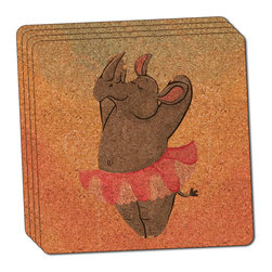 """Made on Terra - Rhinoceros Ballerina Ballet Dancing Thin Cork Coaster Set of 4 - You're just cleaning up after your epic party when you realize it... something's different. Unlike all those other times, you're not mopping up cup condensation from your counters and tables. This time, everyone used a coaster. Everyone. Maybe it's because you handed out a coaster with every glass. No. You've tried that before. No, this time it's because of the actual coasters. You found the cutest Made On Terra printed cork coasters. You love that everyone commented on how unique they were,  from the light-weight, thin cork material to the printing that creates a cool and subtle effect. Plus, they're really absorbent, but dry quickly. And they're made from an eco-friendly, sustainable resource, so that makes you feel pretty great, too. Choose from Made on Terra's many fabulous cork coasters. Measures 4"""" x 4"""" x 1/8"""". Made of thin cork. Super cute and nicely absorbent. Sold in sets of four."""