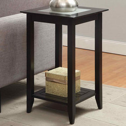 """Convenience Concepts - Carmel End Table, Black - The Carmel Collection by Convenience Concepts, Inc. features Attractive Painted Black Wood with Frosted Glass inlays on table top and Decorative Raised Panel Bottom Shelf; Decorative Raised Panel Bottom Shelf; Frosted Tempered Glass Inlay; Painted Black Wood; Contemporary Design; Will Provide Years of Enjoyment; Materials: Particle Board, MDF, Birch Veneer, Solid Pine; Weight: 13 lbs; Dimensions: 16""""L x 16""""W x 26""""H"""