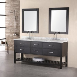 Design Element 72-in. Double Bathroom Vanity Set - The Design Element 72-in. Double Bathroom Vanity Set is an indulgently long piece that allows two to comfortably inhabit its space. This elegant free-standing piece features a sturdy frame made from solid oak and finished in a dark espresso. Two rectangular ceramic undermount sinks rest beneath the handsome Carrera white marble countertop. Six spacious pull-out drawers are built into the frame, accented with satin nickel finished hardware, while an open lower display shelf provides the perfect place to keep extra towels.About Design Element GroupBased in California, the Design Element Group is quickly becoming an industry leader, thanks to their focus on maintaining a position at the forefront of emerging trends in furniture design, modern materials, and quality craftsmanship. From their humble beginnings in 2010, Design Element Group has made quite the name for itself, providing high-quality bathroom vanities at an affordable price. Each piece is professionally designed and handcrafted, never mass-produced. Their passion, commitment to their products, and loyalty to their customer base has made the Design Element Group a company to take note of.