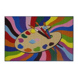 Fun Rugs - Painting Time Kids Multicolor Rug - Your child's room is a natural extension of them. Add these innovative designs from LA Rug to spruce up any child's decor.