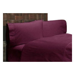 SCALA - 300TC 100% Egyptian Cotton Stripe Wine Short Queen Size Flat Sheet - Redefine your everyday elegance with these luxuriously super soft Flat Sheet . This is 100% Egyptian Cotton Superior quality Flat Sheet  that are truly worthy of a classy and elegant look.