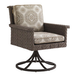Frontgate - Blue Green Swivel Outdoor Rocker Outdoor Dining Chair - Aluminum frame has a unique textured finish and features a full 360-degree swivel and rocker mechanisms. Fabrics feature tightly woven mold- and mildew-resistant fibers, solution-dyed to resist UV fading, with a durable finish for superior stain and water resistance. Plush WeatherGuard cushions feature: a 1.8 lb.-density inner core of high-resiliency foam that functions like a box spring; a layer of soft-cell foam for mattress-like comfort; a layer of naturally anti-microbial spun polyester fiber; and a layer of thermally sealed non-woven ticking to prevent water penetration. High-density polyethylene wicker offers a high tensile strength, low maintenance and resistance to UV exposure, mildew, fading, staining, stretching and cracking. All-weather wicker is easy to clean with a mild solution of soap and water. Ground your outdoor space with hand-woven warmth, applied to all-weather contemporary styling. Defined by a distinctive channeled herringbone design of slate-gray wicker, the Blue Olive Swivel Rocker Dining Chair is engineered to bring sophisticated, comfortable dining outdoors. The rocker and 360-degree swivel functions combine with a generous seat, high track arms and a thick armrest, encouraging laid-back entertaining.  .  .  .  .  .