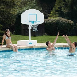 Dunn Rite Splash & Shoot Port Regulation-Size Pool Basketball Hoop Set - The innovative design of the Dunn Rite Splash & Shoot Port Regulation-Size Pool Basketball Hoop Set features variable height adjustment up to 56 inches. The unit features a compact 200-pound water-filled base, heavy-duty aluminum post, a tough reinforced poly backboard with vinyl-coated steel rim, and regulation-size color matched ball. All stainless steel hardware.About Dunn Rite Pool ProductsFamily owned and operated since 1983, Dunn Rite Pool Products got its start in Elwood, Indiana. They got their start manufacturing their own line of quality patio furniture and in 1988, their pool products division was created. Dunn Rite Pool Products is known for innovative products developed to be of the highest quality. They were the first to market a wall-mounted pool fountain, the Wonderfall, and the Splash & Slam, the first commercial-grade basketball hoops product. Every purchase from Dunn Rite Pool Products means quality and value every time.