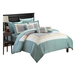 Chic Home - Duke Green Beige and Gray King 10 Piece Comforter Bed in a Bag Set - All your needs to add simple elegance to any bedroom decor are find in this 10-piece comforter set. A beautiful pieced color block design comforter with decorative pillows and a complete sheet set all in one set!!! All made from beautiful peach skin microfiber fabric that will make those overpriced $1000 bedding sets feel so jealous.