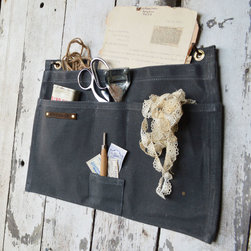 5-Pocket Hanging Work Apron - Slate - Made from waxed canvas, keep your office supplies, magazines, and important files together in this sleek and rustic 5-Pocket Hanging Work Apron. Extremely durable, this industrial pouch will keep up with your highly busy and stylish lifestyle.