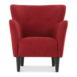 Bryght - Happy Red Armchair - Taking inspiration from the 1950's, the Happy collection boasts a retro mid century modern appeal. Tailored to perfection in a rich red fabric with flared, upward sloping arms and a button tufted back, the Happy armchair is all set to make a bold fashion statement.