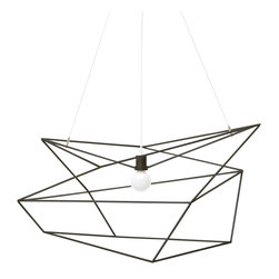 Iacoli & McAllister - Spica Pendant Light, Black - Draw the line at boring design. This pendant light is framed by a seemingly random array of lines, making it different from every angle. Its wildly original looks are bound to delight and surprise your guests (and tickle your own fancy, too).
