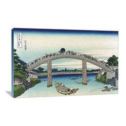 "Artsy Canvas - Edo Zdo Bridge 36"" X 24"" Gallery Wrapped Canvas Wall Art - Edo Zdo Bridge - Katsushika Hokusai (1760 beautifully represented on 36"" x 24"" high-quality, gallery wrapped canvas wall art"