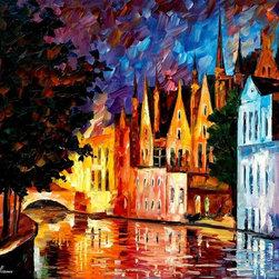Leonid Afremov - Bruges - Northern Veniceoil Painting On Canvas By Leonid Afremov - Oil painting on canvas
