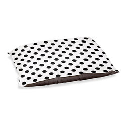 "DiaNoche Designs - Dog Pet Bed Fleece - Colored Dots Black - DiaNoche Designs works with artists from around the world to bring unique, designer products to decorate all aspects of your home.  Our artistic Pet Beds will be the talk of every guest to visit your home!  BARK! BARK! BARK!  MEOW...  Meow...  Reallly means, ""Hey everybody!  Look at my cool bed!""  Our Pet Beds are topped with a snuggly fuzzy coral fleece and a durable underside material.  Machine Wash upon arrival for maximum softness.  MADE IN THE USA."