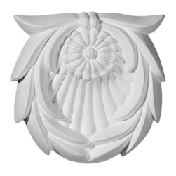 """Ekena Millwork - 3 1/8""""W  x 3 1/8""""H x  5/8""""P Shell with Leaves Rosette - Our rosettes are the perfect accent pieces to cabinetry, furniture, fireplace mantels, ceilings, and more.  Each pattern is carefully crafted after traditional and historical designs.  Each piece comes factory primed and ready for your paint.  They can install simply with traditional adhesives and finishing nails."""