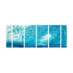 Pure Art - Ocean Waves Metal Wall Art Set of 6 - Waves of blue accented by silver create a spectacular scene on any walls. This metal wall hanging group features six panels that have been hand painted on aluminum. Beautiful grouping gives an abstract appeal. There are sturdy brackets on each panel to help in securing to your walls. All materials used in creating this grouping have been selected of the highest possible qualityMade with top grade aluminum material and handcrafted with the use of special colors, it is a very appealing piece that sticks out with its genuine glow. Easy to hang and clean.