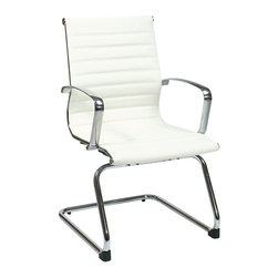 "IFN Modern - Eames Reception Chair with Aluminum Polished Frame in White - This white leather Reception chair was inspired by the Eames office chair collection. It's aluminum polished frame gives the chair a nice shiny finish and provides maximum comfort for any users.Overallsize - 2125""W x 24.5""D x 37.25""HWeight - 40"