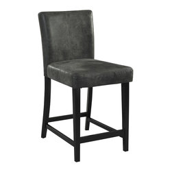 Linon - Linon Morocco Charcoal Bar Stool in Black - Linon - Bar Stools - 0226CHA01KDU - The Charcoal Morocco Stool is a classic styled seating addition. The stool has a simple black finished frame accented with a soft charcoal upholstered seat and back. Perfect for pulling up to a counter, bar or table, the stool has a simple design that will complement a range of decor styles.
