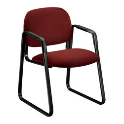 Hon - Solutions Guest Sled Base Chair - Hang onto your seats. This one features a sturdy black frame on a sleek, sled-shaped base. Covered in dark red fabric, the padded seat and back will provide comfort to all your clients, guests and trainees.