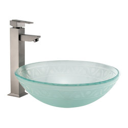 Frosted Glass Etched Ribbon Pattern Vessel Sink - The soft, frosted glass and the etched-in design of this vessel sink will create a captivating focal point for your lavatory. For a completed look, pair with a wall-mount faucet or vessel filler of your choice.