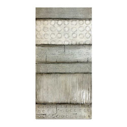 Vertuu Design - 'Exscind II' Artwork - A monochromatic palette gives this textured artwork a sleek, streamlined look. Featuring a slightly distressed surface and unique pattern combinations, this hand-painted canvas works well with both neutral and bold color schemes. Hang it above a bed or mantel as a focal piece.
