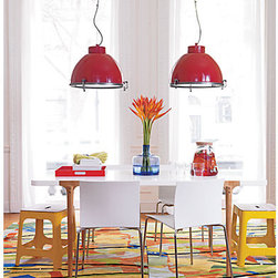 Siren Pendant Lamp - Pairing together two warehouse-style pendants in this tomato red hue makes for a colorful statement.