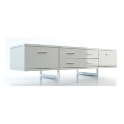 MODLOFT - MODLOFT Allen Media Cabinet - 71 wide by 22 deep by 18 high, this fashionable media storage unit offers cabinets on either end, framing a set of four deep (26 L x 15 D x 10 H) drawers. The unit sits on two U-shaped stainless steel legs that run from the floor to level with the top surface, giving a weightless aura to the piece.  The classic finish comes in wenge or walnut wood finish or white lacquer, to look good in any dcor. The end cabinets offer the convenience of A/V wire/ventilation openings.