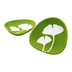 """Hope Johnson Ceramics - Set Of 2 Ceramic Dipping Dishes - Ginkgo in Chartreuse Green - This listing is for a SET of 2 dipping dishes. They each measure approx. 1"""" tall, 4"""" long, 3.5"""" wide."""