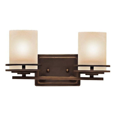 """Kichler - Contemporary Hendrik Bronze 14 1/2"""" Wide Bathroom Light Fixture - This bath light from Kichler features slim lines and classic geometric shapes. The warm glow of the shades is created by the light umber etched glass used to diffuse the bulbs. The clean lines of the fixtures are emphasized by an Olde Bronze finish. This sconce can be mounted with the glass shades opening in either direction. Olde Bronze finish. Light umber etched glass. UL listed for damp locations. Takes one 100 watt bulb (not included). Extends 6 1/2"""" from the wall. 2 1/4"""" from mounting point to top. 14 1/2"""" wide. 8"""" high.  Olde Bronze finish.   Light umber etched glass.   UL listed for damp locations.   A Kichler bath light design.  Takes two 100 watt bulbs (not included).   14 1/2"""" wide.   8"""" high.  2 1/4"""" from mounting point to top.   Extends 6 1/2"""" from the wall."""
