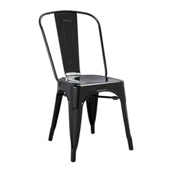 EZMod Interiors - Tolic Chair, Black - This Vintage Modern metal chair is perfect for restaurants, bar, cafes or home use. This chair is stackable and suitable for indoor/outdoor use. The Tolic Chair comes in a variety of colors to suit any decor.