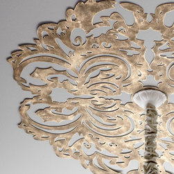 Horchow - Lace Pattern Ceiling Medallion - Metal is cut into a lace pattern and hand painted for a gorgeous antiqued finish, adding enchanting character that instantly draws the eye upward. Handcrafted of sheet metal. Hand-painted light burnished-gold finish. Six pre-drilled holes for attachi...