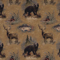 Bears Fish Ducks Deer and Trees Themed Tapestry Upholstery Fabric By The Yard - P2710 is an upholstery grade tapestry novelty fabric. This fabric is excellent for cabins, lodges, homes and commercial uses.