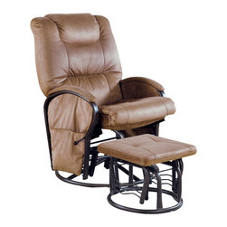 Monarch Specialties - Monarch Specialties 2-Piece Swivel Rocker Recliner Chair Set in Tan with Ottoman - Seat yourself in unsurpassed comfort and style with this tan colored recliner chair and matching ottoman. Upholstered in generously padded cushions, padded pillow top armrests, and side pockets useful for magazines, combine for a comfortable and multi-purpose chair. Accent stitching accentuates the buttery soft micro fiber fabric for a tailored finish. This piece also features a swivel with an adjustable tension knob, which allows you to control the back pitch for relaxing at just the right angle. What's included: Recliner (1), Ottoman (1).