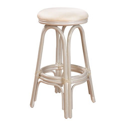 Hospitality Rattan - Hospitality Rattan Carmen Rattan & Wicker Whitewash Swivel Bar Height Stool - A traditional counter stool that is both charming and beautiful The Carmen counter stool is a wicker and rattan swivel barstool that is built with solid rattan pole construction. The Carmen Collection offers three basic finishes Antique Natural and Whitewash. The counter stools feature commercial grade reinforced rattan bases swivel mechanisms & reinforced double pole footrests. The stool will come with instructions and requires assembly. This counter stool comes with a comfortable beige cushion as shown. For an upcharge you can choose from your choice of over 35 indoor fabrics with a variety of colors and patterns to match your decor. Great for entertaining you will always have plenty of seating when guests drop by with the Carmen Counter stool. Since 2000 Hospitality Rattan has been designing and distributing contract quality rattan wicker and bamboo furnishings. A variety of indoor and outdoor collections derived from the best possible materials is available for the furniture buyer who wants that tropical feel. Features include Includes cushion with fabric as shown Swivel Mechanism Included Constructed of commercial quality rattan poles Requires Some Assembly (Instructions Included). Specifications Finish: Whitewash Material Type: Rattan Poles & Woven Wicker.