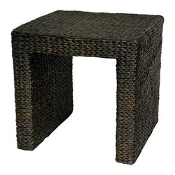Oriental Unlimted - Portable Rush Grass End Table (Black) - Color: BlackSimple, beautiful end table, night stand or stool. Crafted from eco-friendly, easy to harvest rush grass. Very lightweight, portable and practical, easy to move. Shown in Black. 18 in. W x 18 in. D x 18 in. HThere's a growing trend in American home decor toward the eclectic, unique, and exotic. Our amazingly affordable rush grass end tables seem to have caught that wave. Elegant and simple, crafted from ecologically sustainable woven rush grass on kiln dried wooden framing.