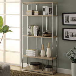 Monarch - Natural Reclaimed-Look/Chrome Metal 72in.H Bookcase - Add a modern edge to your home with this sleek polished chrome accented bookcase and natural reclaimed wood-look shelves. Ample storage space with an open feel will give this bookcase a modern appeal and brighten any room.