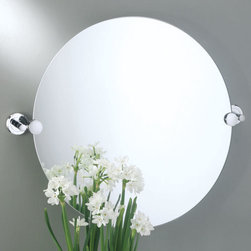 Latitude II Brass Round Tilting Mirror - Get a view from any angle with this exquisite and modern tilting mirror. Comes with solid forged brass mounting hardware.