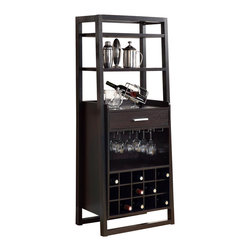 Monarch Specialties - Monarch Specialties 2543 60 Inch Ladder Style Bar Unit in Cappuccino - This stylish and contemporary ladder bar unit encompasses a design that is ideal for entertaining your guests. It features a drawer, a place to hang glasses, shelf space ideal for making cocktails, and a wine rack that can store up to 15 wine bottles. This cappuccino finished, solid-wood unit is practical, elegant and a must-have in every home!