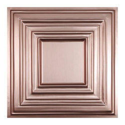 """Bistro Ceiling Tile - Faux Copper - Perfect for both commercial and residential applications, these tiles are made from thick .03"""" vinyl plastic. Their lightweight yet durable construction make these tiles easy to install. Waterproof, these tiles are washable and won't stain due to humidity or mildew. A perfect choice for anyone wanting to add that designer touch at an amazing price."""