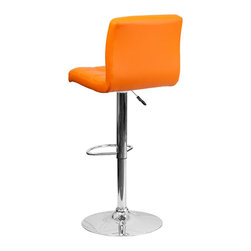 Flash Furniture - Flash Furniture Barstools Residential Barstools X-GG-GRO-DOM-018-SD - This sleek dual purpose stool easily adjusts from counter to bar height. The simple design allows it to seamlessly accent any area in the home. Not only is this stool stylish, but very comfortable to provide you with an amazing sitting experience! The easy to clean vinyl upholstery is an added bonus when stool is used regularly. The height adjustable swivel seat adjusts from counter to bar height with the handle located below the seat. The chrome footrest supports your feet while also providing a contemporary chic design. [DS-810-MOD-ORG-GG]