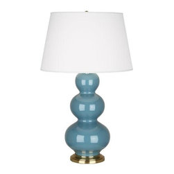 "Robert Abbey Lighting - Robert Abbey Triple Gourd Table Lamp in Steel Blue - Triple Gourd Table Lamp in Steel Blue by Robert Abbey. Different base options available.Bulb Type: ASwitch: 3-WaySteel Blue Glazed CeramicPearl Dupioni Fabric Shade*California, Oregon & Washington State Only: Surcharge of $25.00 shows as ""Drop Ship Fee"" on checkout page."