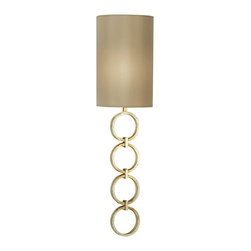"Fine Art Lamps - Portobello Road Sconce, 533350ST - More of a ""wall lamp"" than a sconce, this piece will light your favorite setting with easy chicness. A quartet of platinized silver finish rings serves as the base for a slim, cylindrical silk shade."
