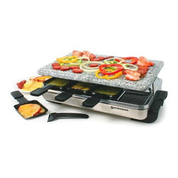 Swissmar - Swissmar - 8 Person Stelvio Raclette Party Grill w/ Granite Stone - Swissmar - 8 Person Stelvio Raclette Party Grill w/ Granite Stone - KF-77081   Entertaining will be relaxing while everyone grills their own food on this stainless steel raclette with an easy care granite stone grill top. Just right for grilling meats. shrimp, and veggies. Variable heat control and 1200 watts for fast heating. Includes 8 heat-resistant spatulas and raclette dishes.