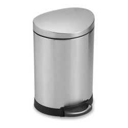 Simplehuman - simplehuman Fingerprint Proof Brushed Steel 6-Liter Semi-Round Step Can - This space-efficient semi-round step can with a 6-liter capacity is perfect for small spaces, such as a bathroom or under a desk. Its brushed steel finish is fingerprint proof, making it great in busy areas.