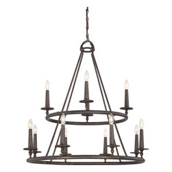 Quoizel - Quoizel Dark Bronze Large Chandeliers - SKU: VYR5012ML - The Voyager collection has an elegant look that is influenced by Moorish, Spanish and Gothic styles. The intricate metal scrollwork is made of hand-forged iron, and the stunning Malaga finish completes the design of this stately collection.
