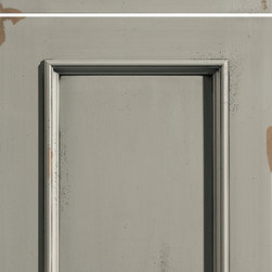 """Dura Supreme Cabinetry - Dura Supreme Cabinetry Vintage Panel Cabinet Door Style - Dura Supreme Cabinetry """"Vintage Panel"""" cabinet door style in Maple shown with Dura Supreme's """"Tea Green"""" paint with """"Espresso"""" Glaze and Rub-Thru finish."""
